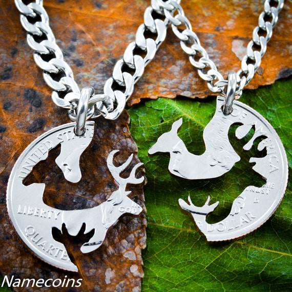 Hunting Necklaces for Parents, Buck and Doe with child, With Baby Spike deer, Couples Necklaces, Interlocking Love Quarter, hand cut coin