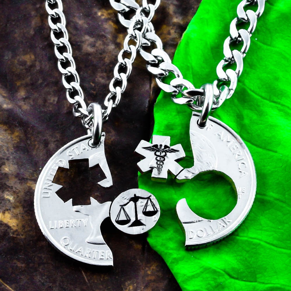 Scales Of Justice And Medical Symbol Necklaces Law Student Gift