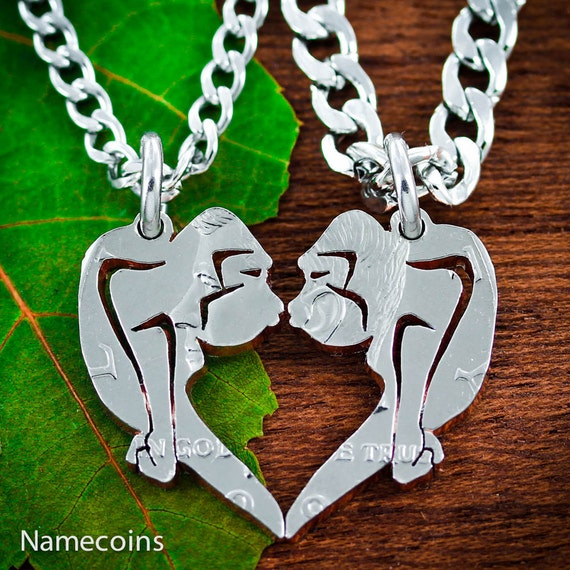 Gorillas Kissing Necklaces for 2, His and Her, Heart Couples Necklaces