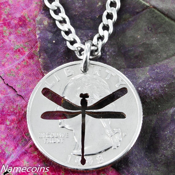 Dragonfly Necklace cut by hand into a quarter