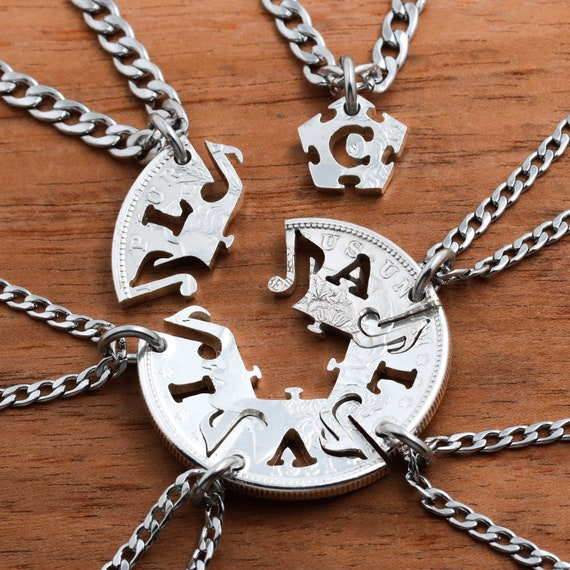 6 Best Friends Musical Note Necklaces, Silver Coin, Band Jewelry, Friendship or Family Gift, Bespoke Set with Custom Initials, Hand Cut Coin