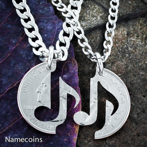 Music Note Necklace set for couples, You Make My Heart Sing relationship set, Hand Cut Quarter