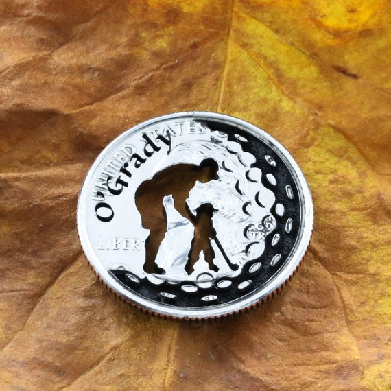 Father Daughter Family Name Gift, Baby Girl Golfer, Daddy and Me Golf Marker, Engraved and Cut Coin