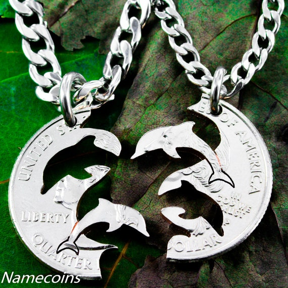 Dolphin Best Friend Necklaces for 2, BFF Gifts, Couples Necklaces, Interlocking Like A Puzzle, Relationship Set, Hand Cut Coin