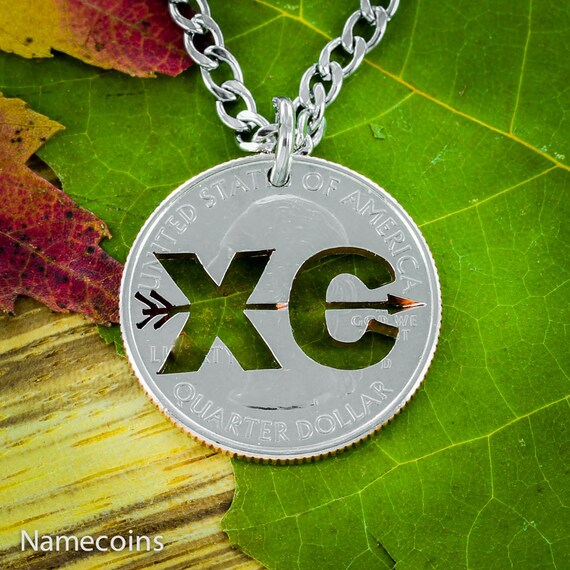 Cross Country XC Necklace, Handmade Running Jewelry, Hand Cut Coin