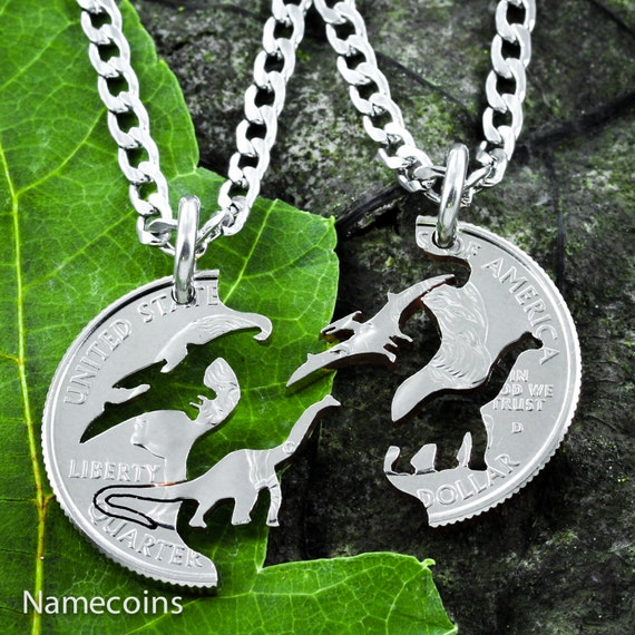 Dinosaur Best Friends Gift Necklaces for 2, BFF, Pterodactyl and Brontosaurus, Interlocking Set