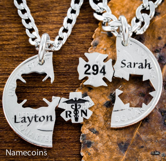 Firefighter and RN Nurse, Couples Necklaces, Custom Names and Numbers, Fire and Medical, Hand Cut Coin