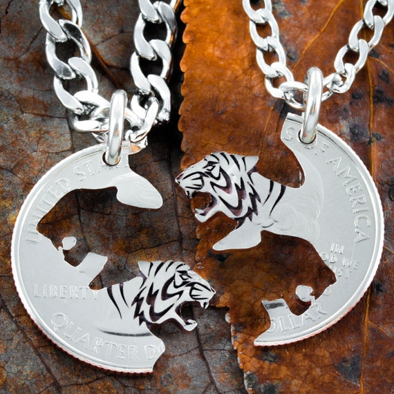 Tiger Best Friend Necklace set, Bff Gifts, Necklaces for 2,  Interlocking tigers hand cut and engraved on a US Coin