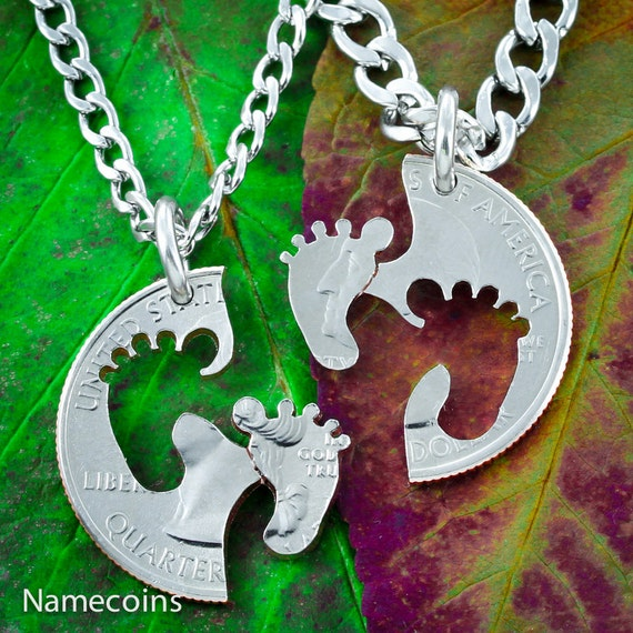 Baby Feet Couples Necklaces, Parents or Best Friends Gifts, Baby Shower, BFF, Interlocking Halves Cut from a Coin