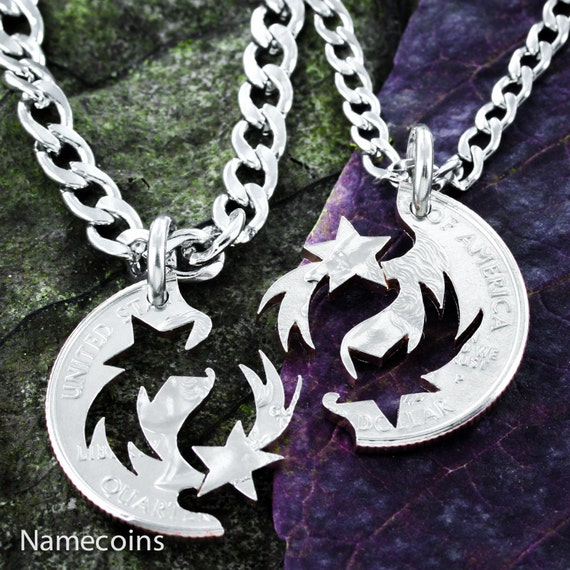 Shooting Star BFF Necklaces for 2, Best Friends Gifts, Star Jewelry, Interlocking Like A Puzzle