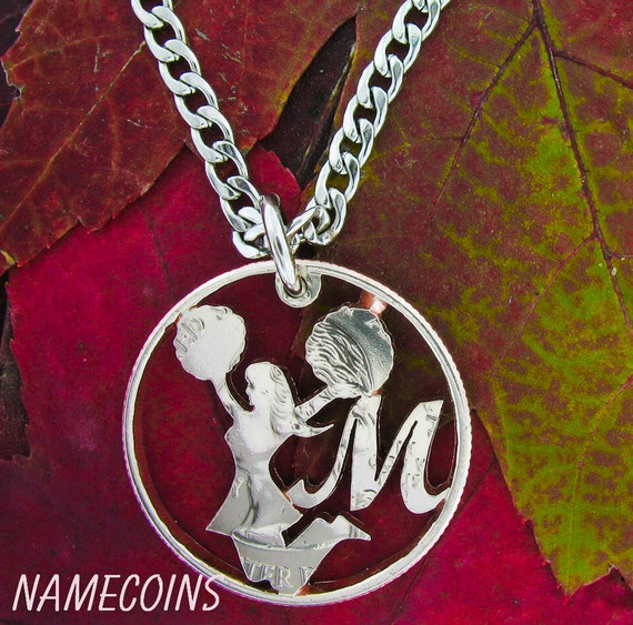 Cheerleader Necklace, With Custom Initial Monogram, Sports Gifts for Girls, Hand Cut Coin
