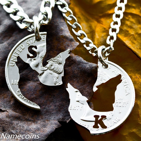 Wolf Necklaces For 2, Howling Wolves, Custom Initial Jewelry, Best Friends Or Couples Gifts, BFF, Interlocking Like a Puzzle, Hand Cut Coin