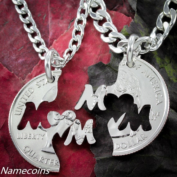 Mom Necklace Set, I Love Mom Jewelry, Sister Gifts for 2, Mother Gift, Interlocking Hand Cut Coin