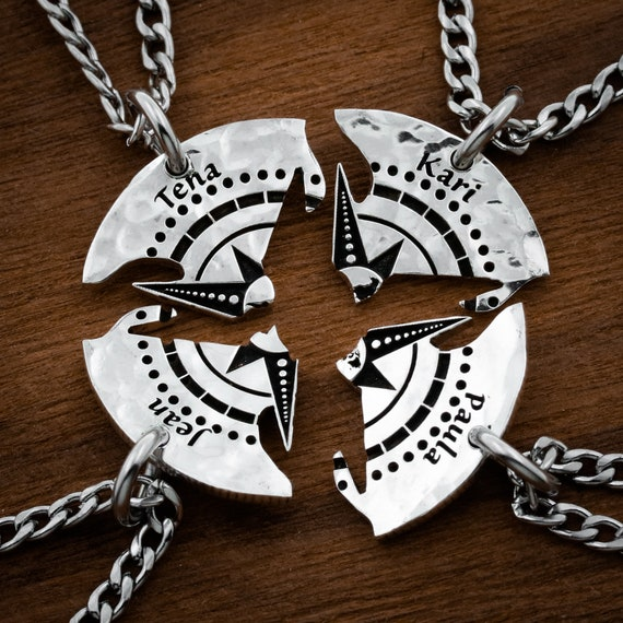 4 Compass, Friends or Family, Necklace, Deeply Engraved Names Puzzle Jewelry, Best Friends or Family Hand Cut Coin Gift