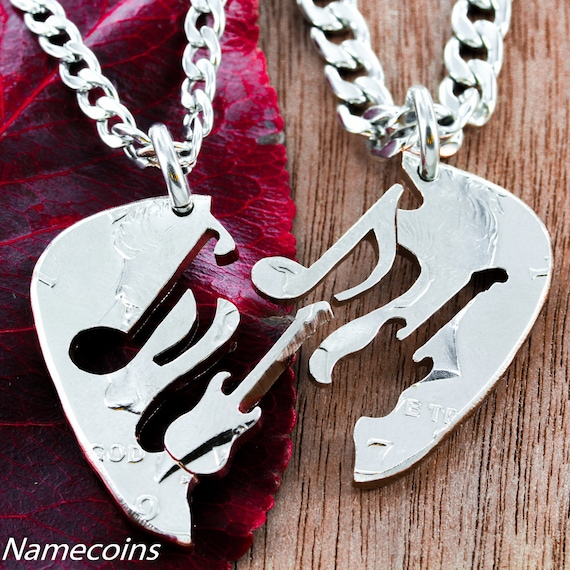 Guitar and Music Note BFF Necklaces, Guitar Pick Cut Into 2 Puzzles, Best Friend Gifts, Hand Cut Coin