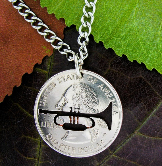 Trumpet Necklace Marching School Band Horn Player gift
