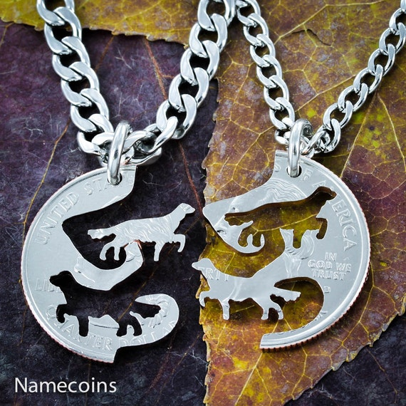Dog BFF Necklaces, Best Friends Or Couples Gifts, Interlocking Pet hand cut coin