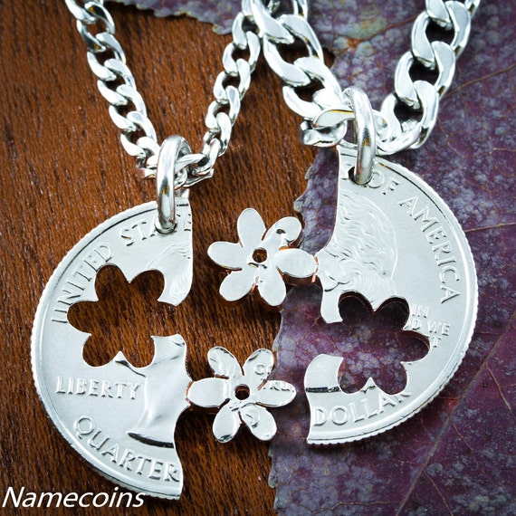 Flower BFF Necklaces, Best Friends GIfts, Couples Jewelry, Interlocking Cut Coin