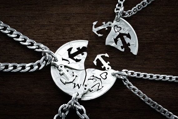 Anchor for Life Personalized BFF Gifts, 4 Best Friends or Family Initials and Anchors Necklaces, Hand Cut Coin