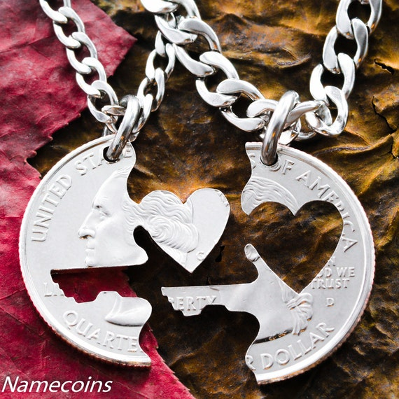 Key to Heart necklace, Couples Jewelry, Interlocking love quarter, hand cut coin