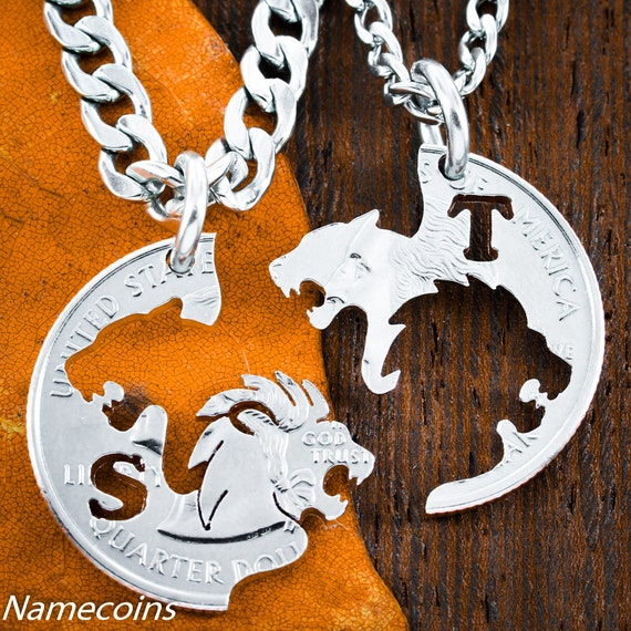 Lion and Lioness With Initials Jewelry Set, Custom Interlocking Couples Necklaces, Hand Cut Coin