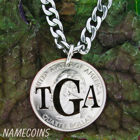 Initial Necklace, Custom Monogram Jewelry, Gifts for Dad, hand cut coin necklace