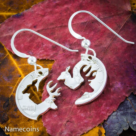 Buck and Doe Silver Earrings, Mercury Dime Cut in half, Sterling Silver French Hook Earrings