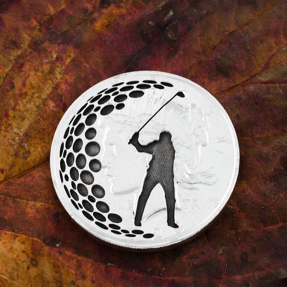Golf Ball Marker and Divot Tool, Husband/Father Golf Gift, Engraved Silver Dollar, Completely Customizable Coin Options