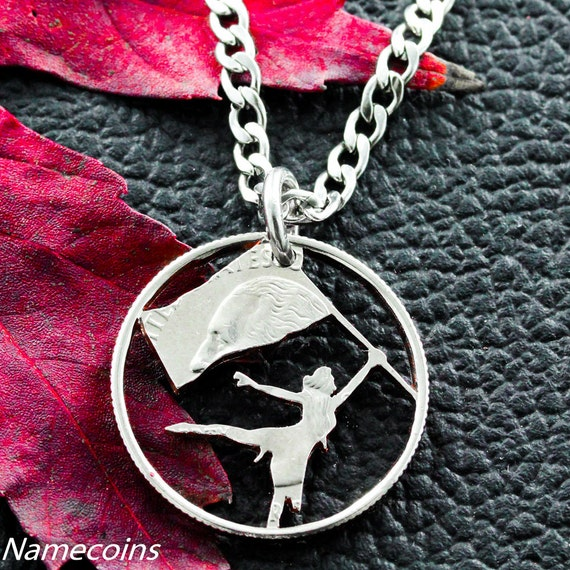 Color Guard Necklace, Sport Gifts For Her, Teen Girls Gifts, Hand Crafted Cut Out Quarter