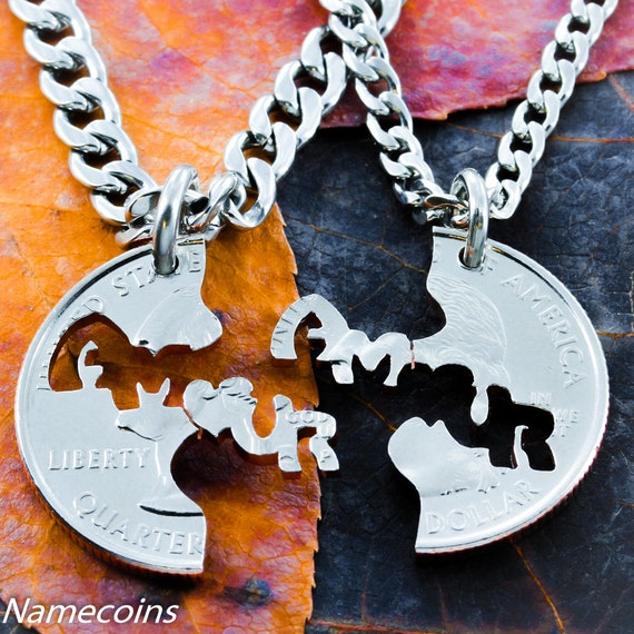 Amour BFF Necklaces, Love in French, they fit together like a puzzle for couples, Hand Cut Coin