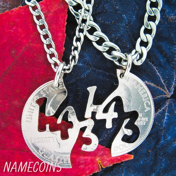 143, I Love You Necklace, Couples Jewelry Necklaces, Hand Cut Coin