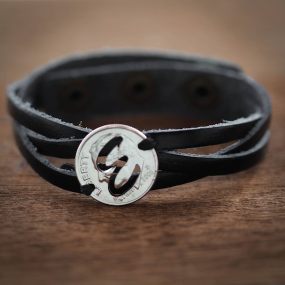 Custom Initial Bracelet, Hand Cut Letter on a dime and sewn on a woven Leather Bracelet, Braided leather, Hand Cut Coin By Namecoins