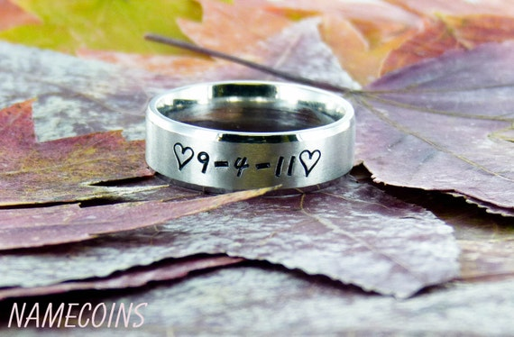 7mm Matte Finish Stainless Steel Ring with Custom Name and Symbols