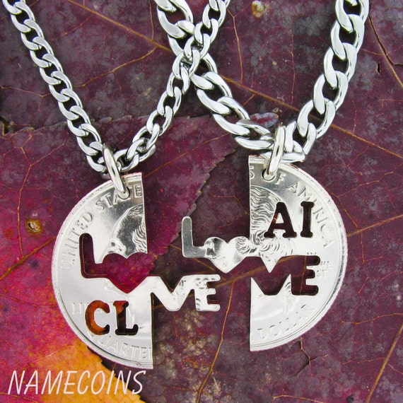 Personalized Couples Necklaces, Initials Love Jewelry, Interlocking set for couples, hand cut coin