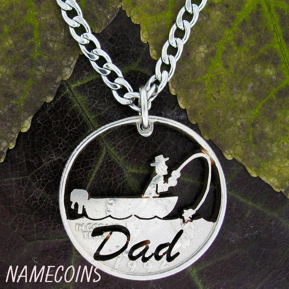 Fishing Necklace for Dad, Fathers Gift, Fisherman Handmade Jewelry, Hand Cut Coin