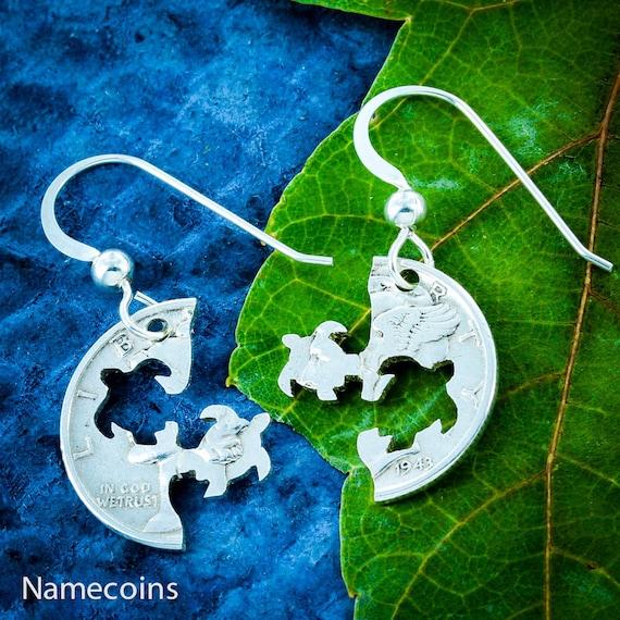 Sea Turtle Silver Earrings, Turtles Cut on Mercury Dime, Sterling Silver French Hook Earrings