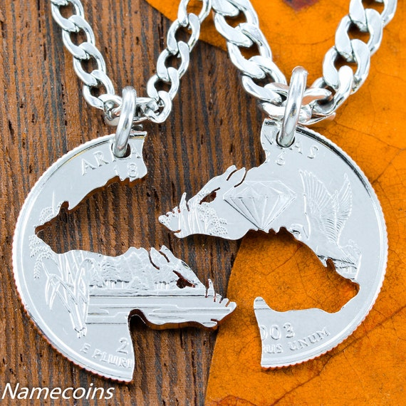 Hogs Necklaces, Interlocking Set on Arkansas Quarter, for boar hunters or hog theme, cut coin