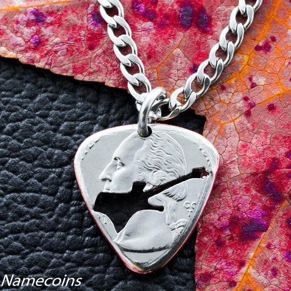 Guitar Pick Necklace, Electric Guitar Gift, Band Jewelry, Hand cut and burnished Quarter