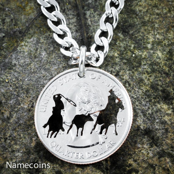 Team Roping necklace, Calf Roper, Western jewelry hand Cut Coin, On quarter