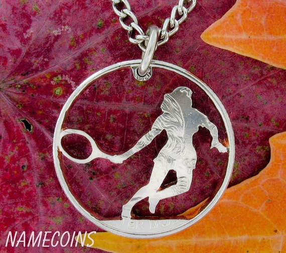 Tennis Necklace, Sports Gifts For Her, Woman's Athletic Apparel, Hand Cut Coin Necklace