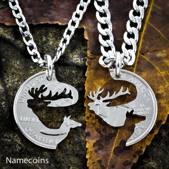 Elk Couples Necklaces, Bull and Cow, Interlocking Puzzle Jewelry