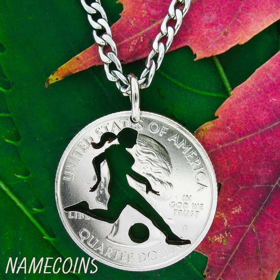 Woman Soccer Necklace, Striker, Sports Gifts for Girls, Hand Cut Coin