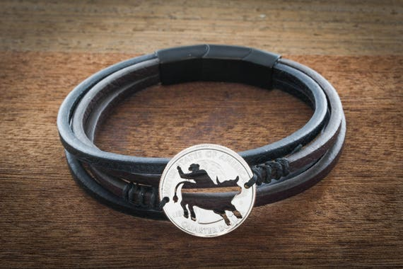 Bull Riding Leather Strand Wrap Bracelet, Bullrider Jewelry, Western, Cowboy and Cowgirl