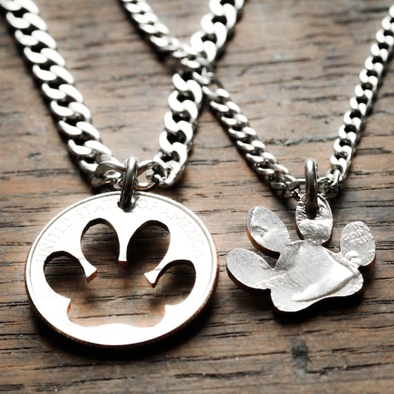 Dog Memorial Necklace, Paw Print Best Friends Necklaces, Bff Gift, Dog Collar, Puppy Paws