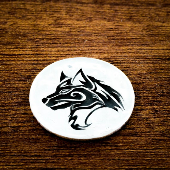 Silver Wolf Golf Marker, Etched in a Hammered Silver Quarter