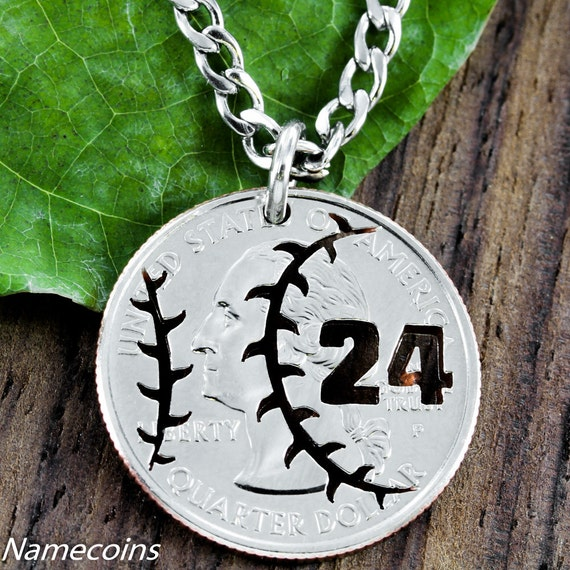 Baseball Jewelry, with Custom Jersey Numbers Quarter, Hand Cut Coin