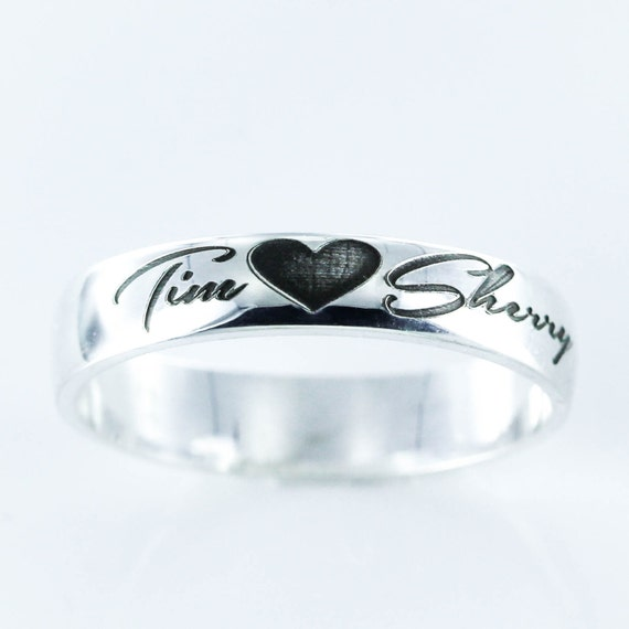 Custom Couples Silver Name Ring, 2 names with a heart, Engraved, wedding, anniversary, or relationship gift. Completely Customizable