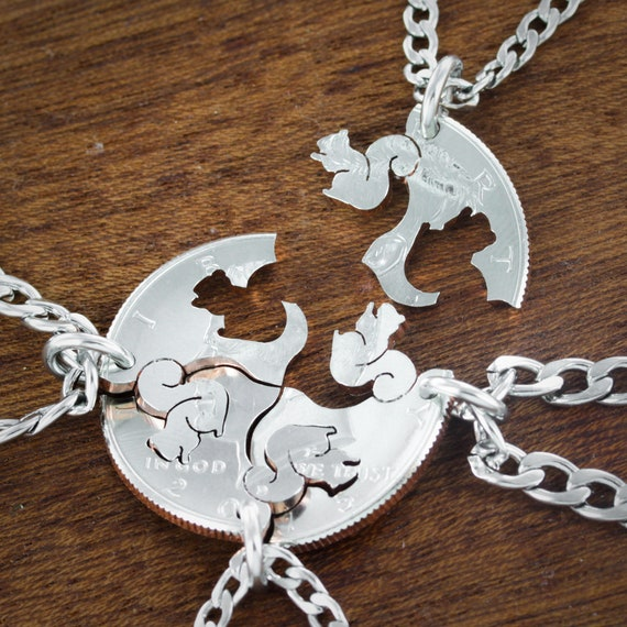 4 Squirrel Necklaces, Best Friends or Family Necklaces, Squirrel Squad, BFF Gifts for 4, Hand cut coin