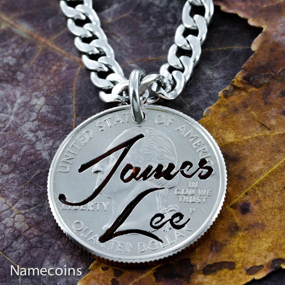 Name Necklace, Custom Name Jewelry, hand cut on a quarter in Brush Script, NameCoins