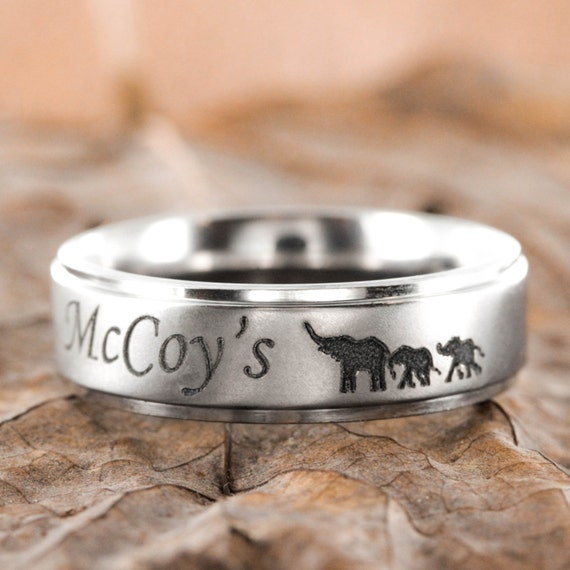 Baby Elephant Family Ring, with custom name engraved, Titanium, Personalized comfort fit 7mm ring
